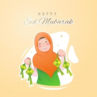 Glückliches ied al fitr mit niedlichem hijab-mädchen, das ketupat beide hand nach ramadan kareem-feiertagswohnungsart-entwurfs zeigt