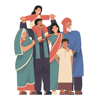Glückliches indisches familienporträt, das traditionelle kleidung trägt. großeltern, eltern und kinder