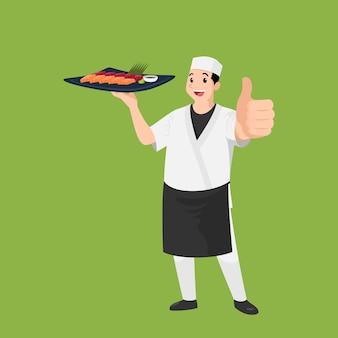 Glückliches japanisches kochkarikaturporträt des jungen großen kerlkochs, der hut und kochuniform hält, hält gericht von sushi