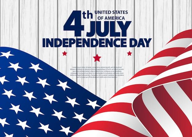 Glückliches juli 4. usa-unabhängigkeitstaggrußkarte mit dem wellenartig bewegen der amerikanischen staatsflagge.