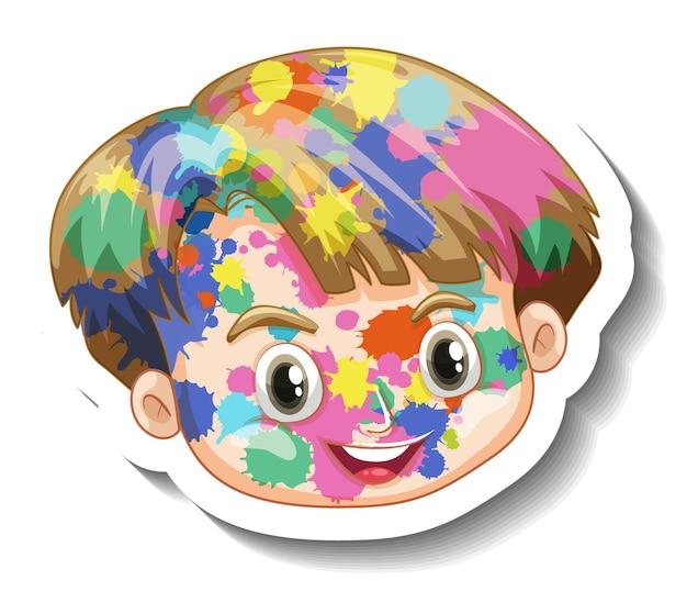 Glückliches jungengesicht mit farbe auf seinem gesichtsaufkleber auf weißem hintergrund