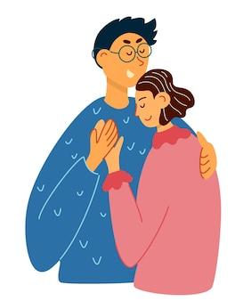 Glückliches junges liebespaar umarmt hand zeichnen paar in einer verliebten beziehung