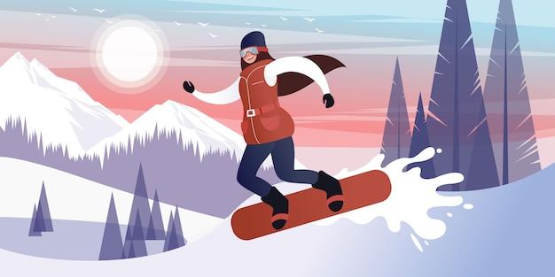 Glückliches junges mädchen, das an einem eisigen tag in den bewaldeten schneebedeckten bergen des winters snowboarding ist. flache vektor-illustration.