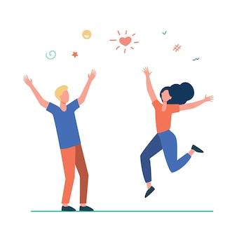 Glückliches junges paar, das spaß hat. mädchen und kerl tanzen auf party und feiern gute nachrichten flache illustration.