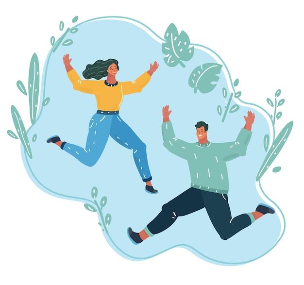 Glückliches junges paar springen