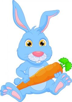 Glückliches kaninchen der karikatur, das karotte hält