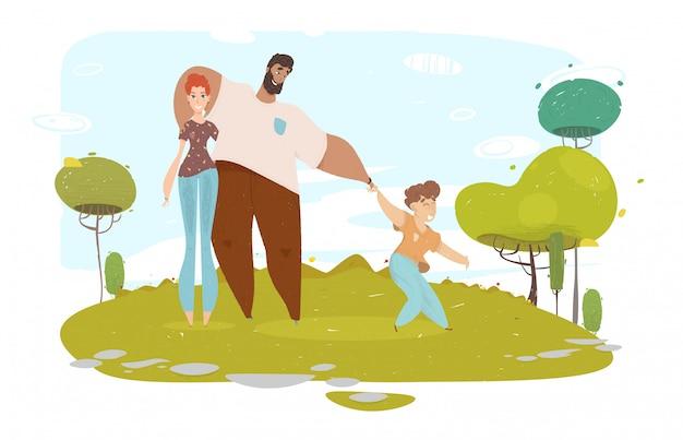 Glückliches karikatur-handwerks-familien-porträt auf natur