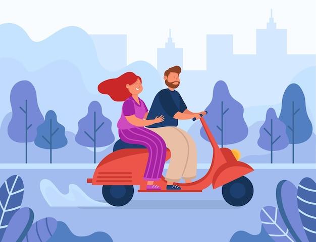 Glückliches karikaturpaar, das motorrad fährt