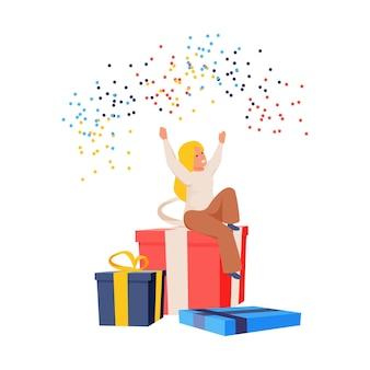Glückliches kind, das auf großer geschenkbox mit flacher illustration des konfettis sitzt