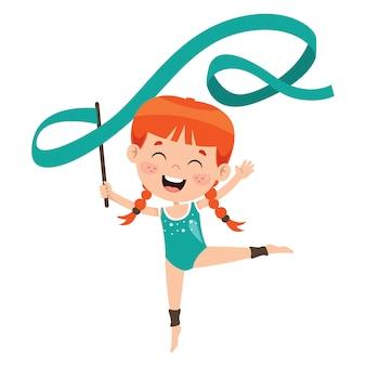 Glückliches kind, das gymnastikübung tut
