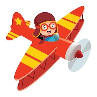 Glückliches kind, das im flugzeug fliegt