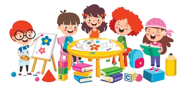 Glückliches kind, das studiert und lernt
