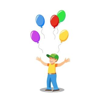 Glückliches kind mit ballonen lokalisiertem karikatur-vektor