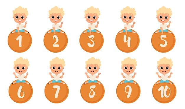 Glückliches kind sitzt nummer vektor-illustration cartoon kinder mit 12345 zahlen finger zählen mathematik