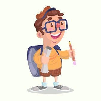 Glückliches kind zur schule gehen