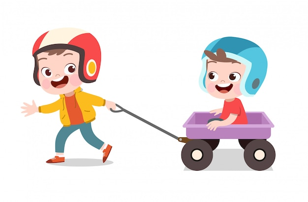 Glückliches kinderspiel mit lastwagen