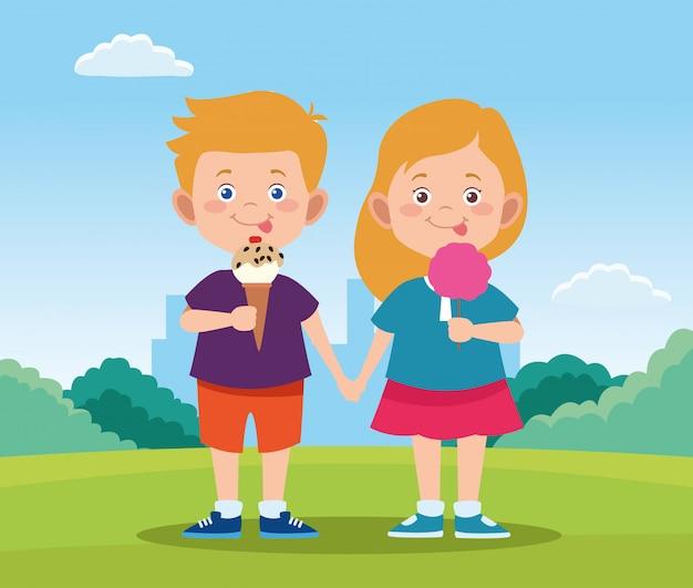 Glückliches kindertagesdesign mit glücklichem mädchen und jungen der karikatur