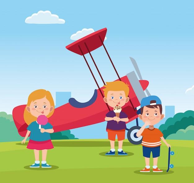 Glückliches kindertagesdesign mit glücklichen kindern der karikatur und leichtflugzeug