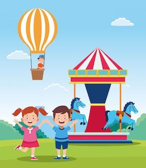 Glückliches kindertagesdesign mit glücklichen kindern und karussell der karikatur