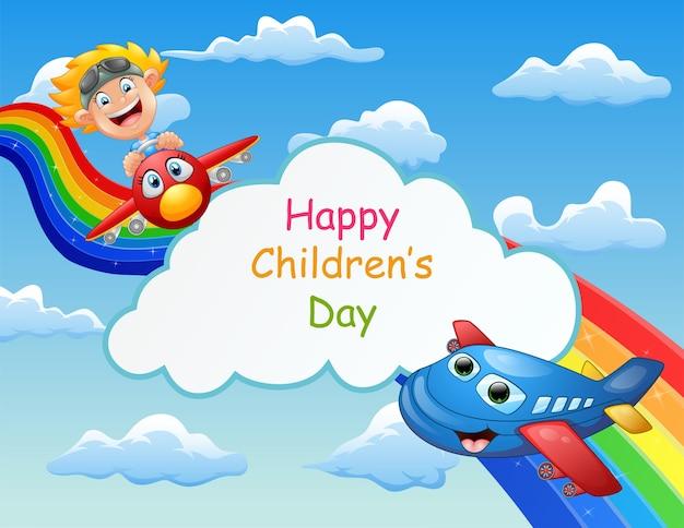 Glückliches kindertagesplakat mit kind im flugzeug im himmel