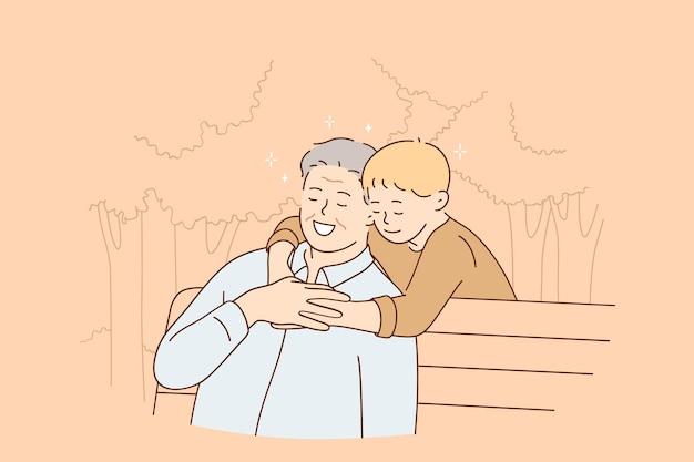 Glückliches kindheits- und erziehungskonzept