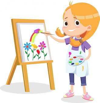 Glückliches kleines mädchen, das auf einer leinwand malt