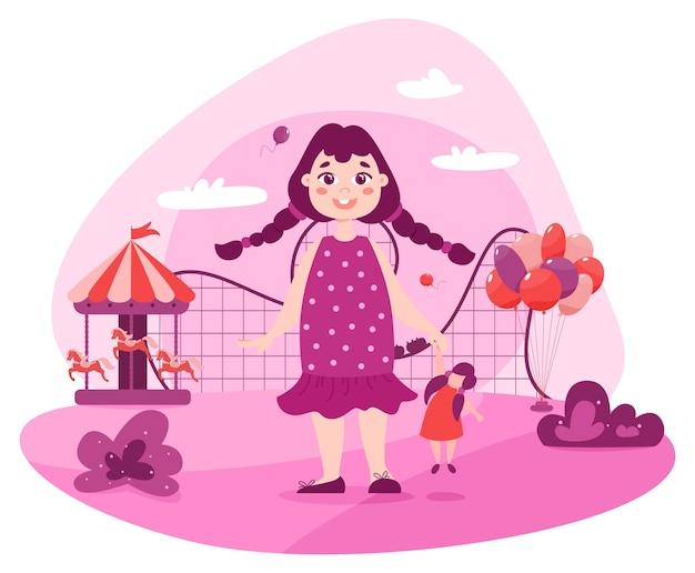 Glückliches kleinkind im vergnügungspark. baby mädchen im rosa kleid, das nahe attraktionen wie karussell mit pferden, riesenrad, achterbahn steht.