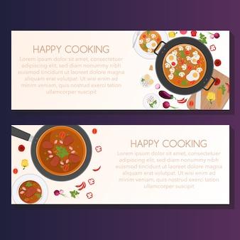 Glückliches kochen banner design