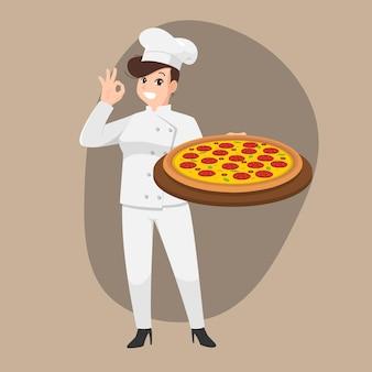 Glückliches kochkarikaturporträt der jungen frau, die hut und kochuniform trägt, hält pizzateller