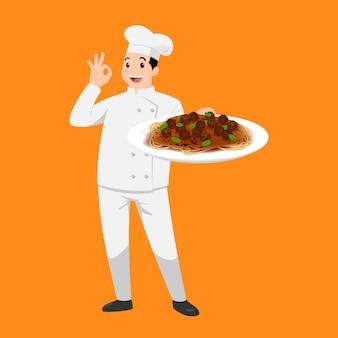 Glückliches kochkarikaturporträt des jungen großen kerlkochs, der hut und kochuniform hält platte der spaghetti hält