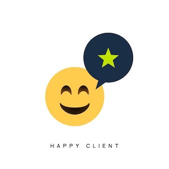 Glückliches kundengeschäftssymbol für kunden. feedback-client positives zeichen lächeln symbol.