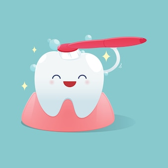 Glückliches lächeln der netten karikaturzähne und putzen die zahnreinigung