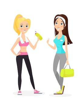 Glückliches lächeln gesunder starker junger weiblicher fitnessmädchen in stilvoller sportkleidung, wasserflasche, tasche