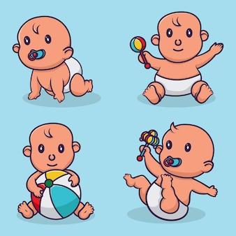 Glückliches lächelndes baby. süße cartoon-kleinkinder