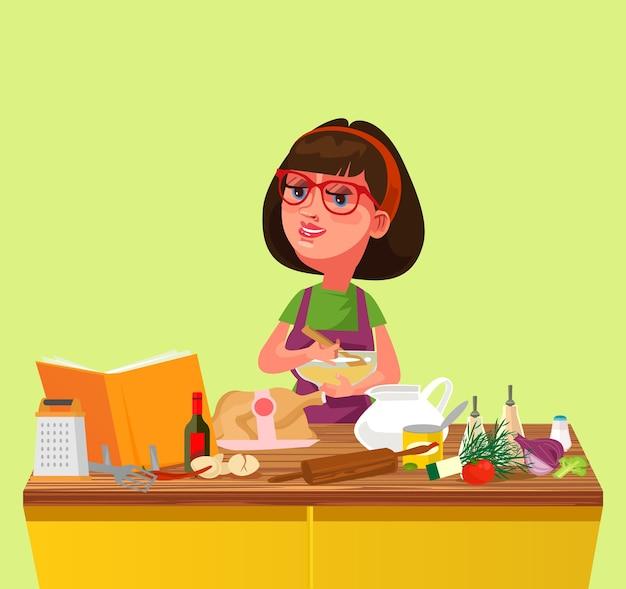 Glückliches lächelndes hauskoch der hausfrau des kochens bereiten das schneiden des mischens von lebensmittelzutaten vor. kulinarische wohnküchenkarikatur flache isolierte abbildung