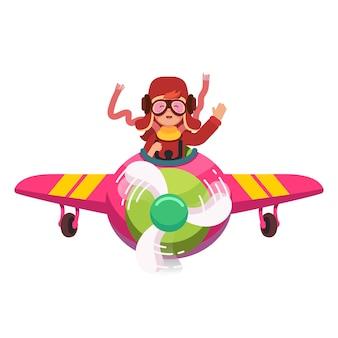Glückliches lächelndes kind fliegen flugzeug wie ein echter pilot
