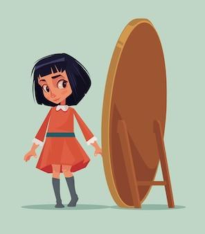 Glückliches lächelndes kleines mädchen, das neues kleid versucht und spiegel betrachtet. karikatur