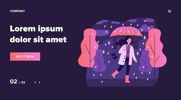 Glückliches lächelndes mädchen mit regenschirm, der in der regnerischen tagesillustration geht. frau, die draußen im fallenden wetter bleibt. weibliche figur, die im regen geht. saison-, herbst- und landschaftskonzept