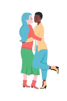 Glückliches lesbisches paar flach