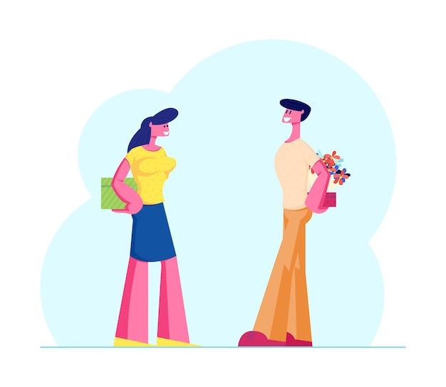 Glückliches liebendes paar bereiten geschenke zu einander vor. karikatur flache illustration