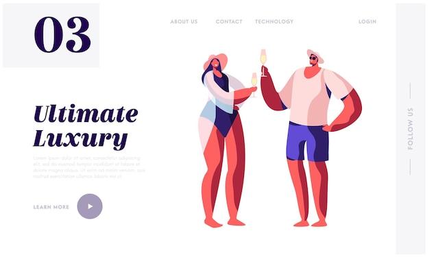 Glückliches liebespaar in badeanzügen, die champagner trinken. website-landingpage-vorlage