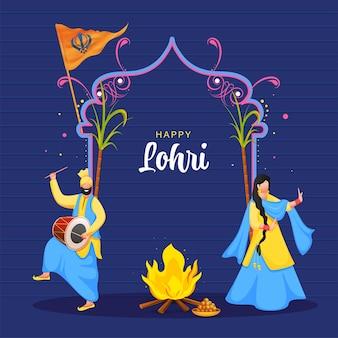 Glückliches lohri-feier-konzept
