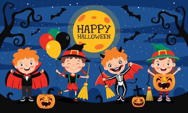 Glückliches lustiges kind, das halloween feiert