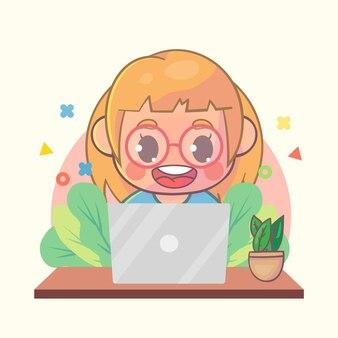 Glückliches mädchen, das an laptop-karikatur arbeitet