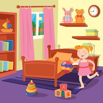 Glückliches mädchen, das ball im kinderschlafzimmer spielt. schlafzimmer interieur mit spielzeug.