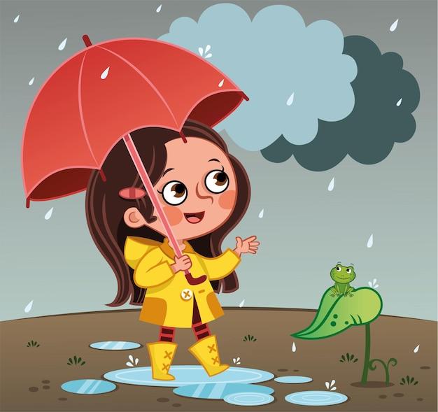 Glückliches mädchen, das im regen mit roter regenschirmvektorillustration geht