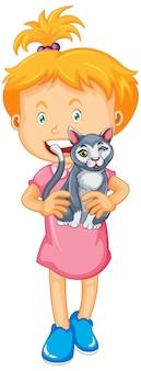 Glückliches mädchen, das katze hält