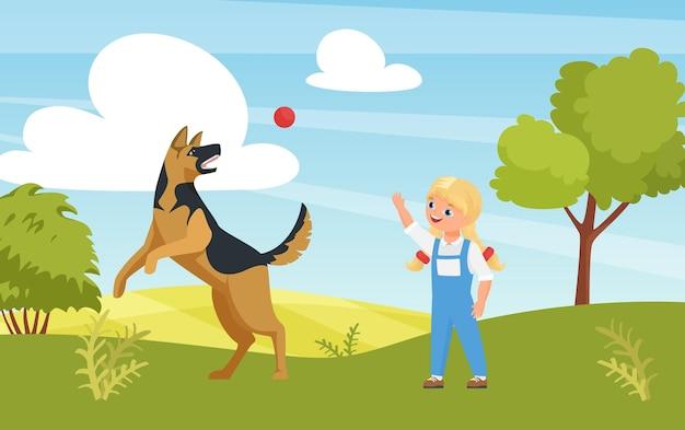 Glückliches mädchen, das lustiges spiel mit hund im spielplatz oder im sommernaturpark im freien spielt