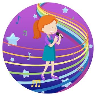 Glückliches mädchen, das mit regenbogenmelodie auf blauem und violettem steigungshintergrund singt