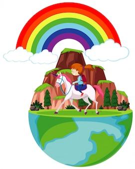 Glückliches mädchen, das pferd auf erden reitet